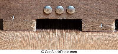 Typical dutch wooden boardgame - Sjoelen, selective focussed