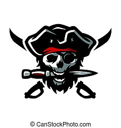 The skull of a pirate, with a dagger in his teeth.