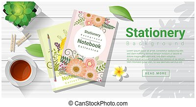 Summer scene with colorful notebooks on wooden table background 2