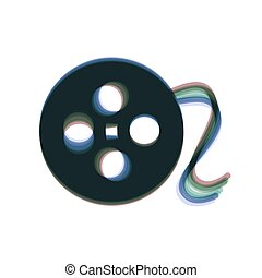 Film circular sign. Vector. Colorful icon shaked with vertical axis at white background. Isolated.
