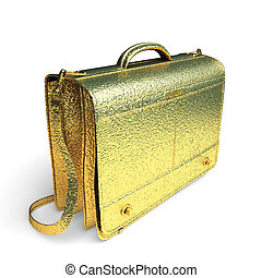 isolated golden Business briefcase made in 3d graphics