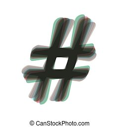 Hashtag sign illustration. Vector. Colorful icon shaked with...