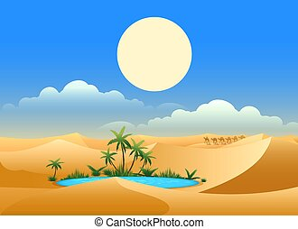 Desert oasis background. Egypt hot dunes with palm trees,...