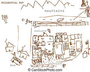 Residential Map Drawing - An image of a residential map...