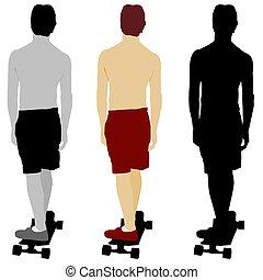 Skateboarder Set - An image of a skateboarder set