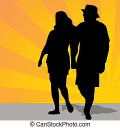 Man Woman Walking Outdoors - An image of a man and a woman...