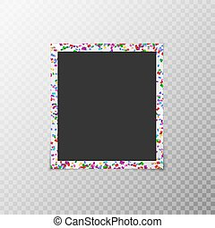 Photo frame with flying confetti - Photo frame with flying...