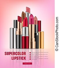 Lipstick collection on vivid background