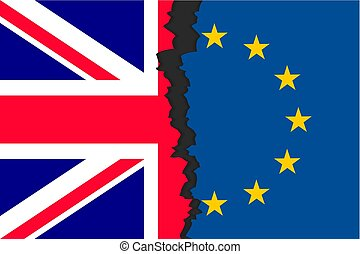 Brexit picture two parts of flags
