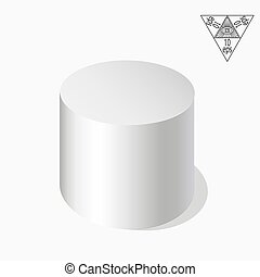 White cylinder on a white background in axonometry. Vector illustration of an eps 10.