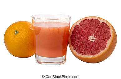 freshly squeezed grapefruit and orange juice in a glass,...