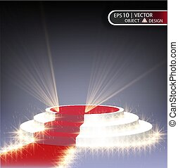 The white podium is multilevel on a transparent background with a red path and spotlighting the spotlights. The vector of the eps 10.