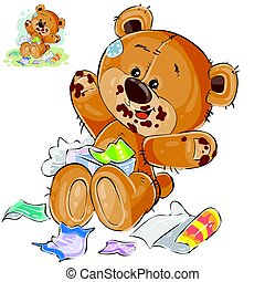 Vector brown teddy bear sweet tooth ate a lot of candy and now sits smeared in chocolate