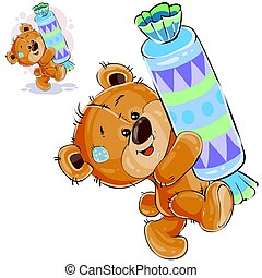 Vector illustration of a brown teddy bear sweet tooth...
