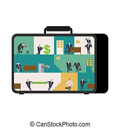 Office in case. mobile Workplace in suitcase. Managers working on computer. Business situation. Boss and subordinate relationship. Tables and File Cabinet. Businessman at work