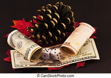 Risky Bets - Winter and autumn images of pine cone and red...