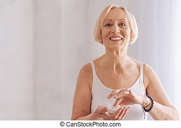 Happy looking woman expressing positivity - Friendly smile....