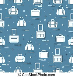Cute seamless pattern with different bag and suitcases for...