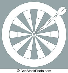 Cute vector illustration of target and arrow for the darts. Sports theme.