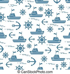 Cute seamless pattern with ships, steering wheels, anchors,...