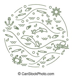 Cute vector illustration with dolphins, octopus, fish, anchor, helm, waves, seashells, starfish, crab arranged in a circle.