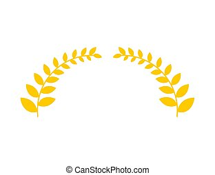 Olive branch is golden wreath. Symbol of victory. Accessory...