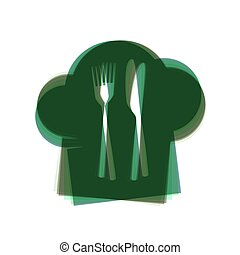 Chef hat and spoon, fork, knife sign. Vector. Colorful icon shaked with vertical axis at white background. Isolated.