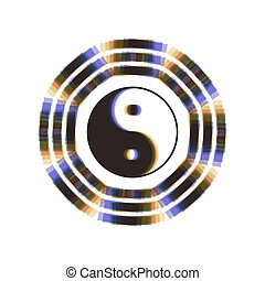 Yin and yang sign with bagua arrangement. Vector. Colorful...