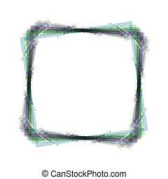 Arrow on a square shape. Vector. Colorful icon shaked with vertical axis at white background. Isolated.