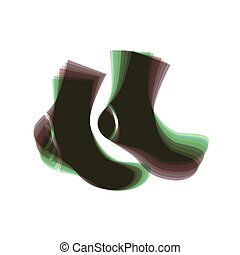 Socks sign. Vector. Colorful icon shaked with vertical axis...