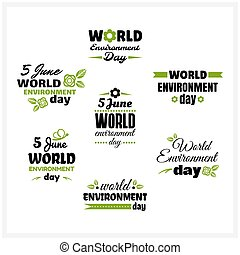 World Environment Day Badges Set - Collection of badges for...