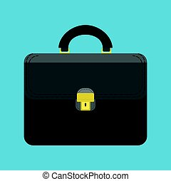 Black briefcase of businessman isolated on blue background....