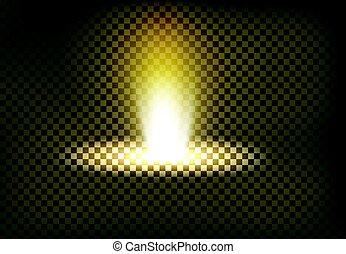 Vector illustration of a golden light ray, a light beam, a...