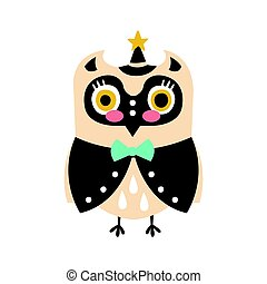 Cute cartoon owl bird in smart clothes and a hat with a star colorful character vector Illustration