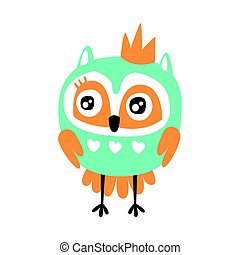 Cute cartoon owl bird with crown colorful character vector Illustration