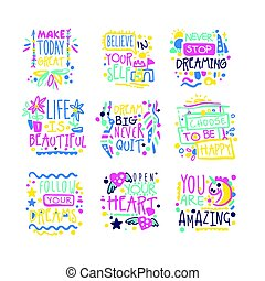 Short possitive messages, inspirational quotes colorful hand...
