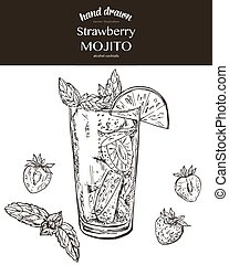 Strawberry mojito. Vector sketch illustration of cocktails....