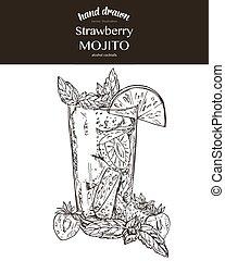 Strawberry mojito. Composition. Vector sketch illustration...