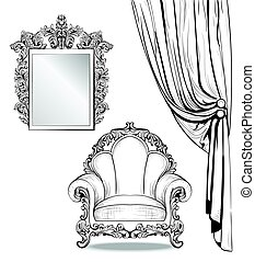 Exquisite Imperial Baroque armchair and mirror frame in...