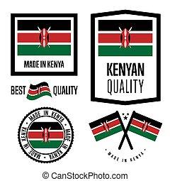 Kenya quality label set for goods - Kenya quality isolated...