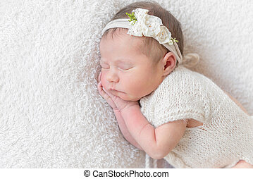 baby with white hairband, dressed in suit - Lovely sleeping...