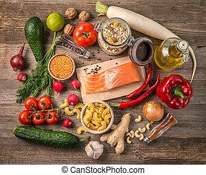 fresh fruits and veggies, salmon, topshot