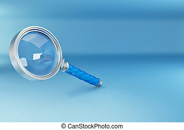 Loupe in blue background.