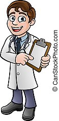 Doctor Cartoon Character Holding Clip Board - A doctor...