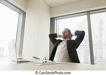 Office worker take break for rest and recovery - Satisfied...
