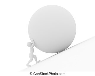 Men with sphere 3d - Men with sphere on white isolated...