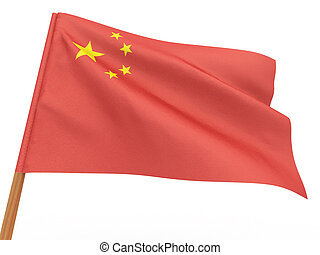 flag fluttering in the wind. China