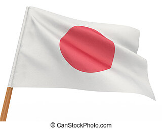 flag fluttering in the wind. Japan. 3d