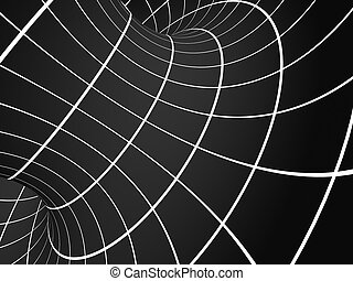 Abstract illusion. Black and white. Background with tube...