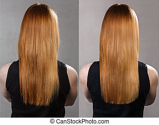 Hair before and after treatment. - Back view on hair before...